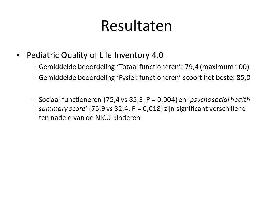 Resultaten Pediatric Quality of Life Inventory 4.0 – Gemiddelde beoordeling 'Totaal functioneren': 79,4 (maximum 100) – Gemiddelde beoordeling 'Fysiek