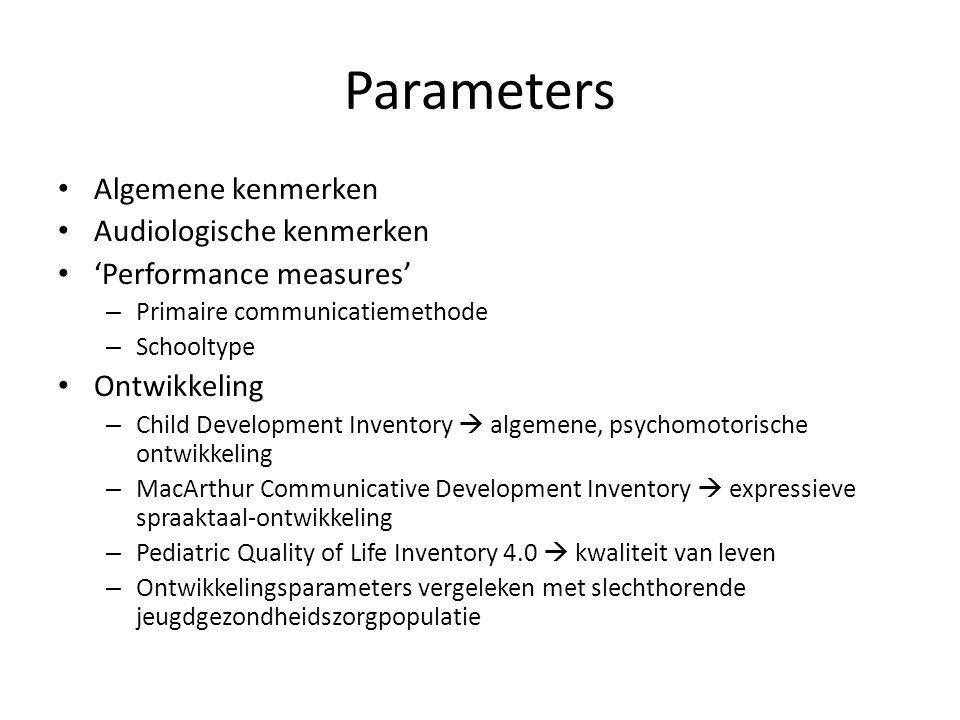 Parameters Algemene kenmerken Audiologische kenmerken 'Performance measures' – Primaire communicatiemethode – Schooltype Ontwikkeling – Child Developm