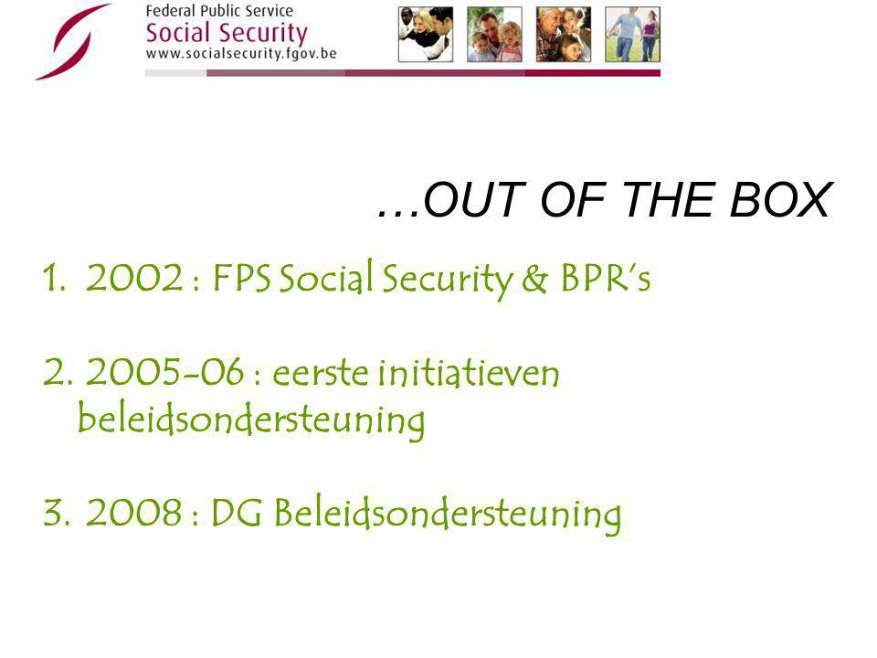 1. 2002 : FPS Social Security & BPR's 2. 2005-06 : eerste initiatieven beleidsondersteuning 3.