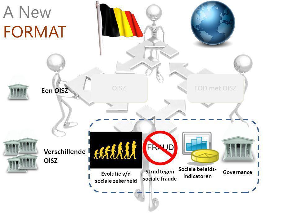 Verschillende OISZ Een OISZ OISZ FOD met OISZ A New FORMAT Strijd tegen sociale fraude Sociale beleids- indicatoren Governance Evolutie v/d sociale zekerheid