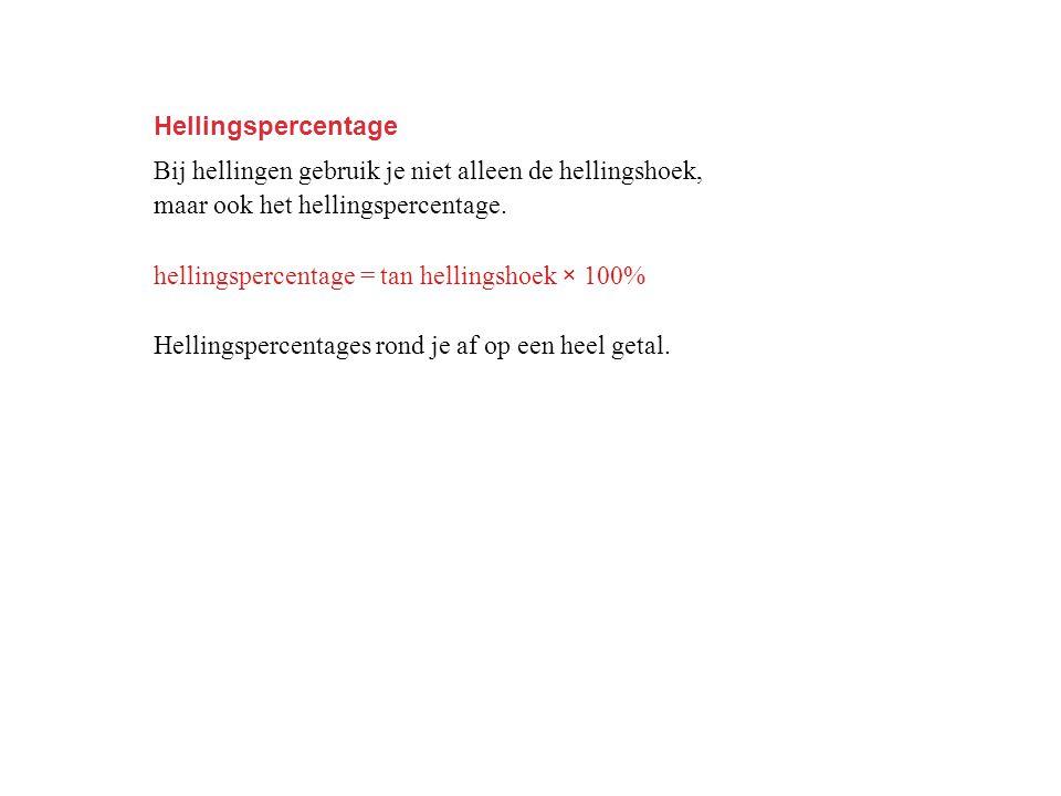 Hellingspercentage Bij hellingen gebruik je niet alleen de hellingshoek, maar ook het hellingspercentage.