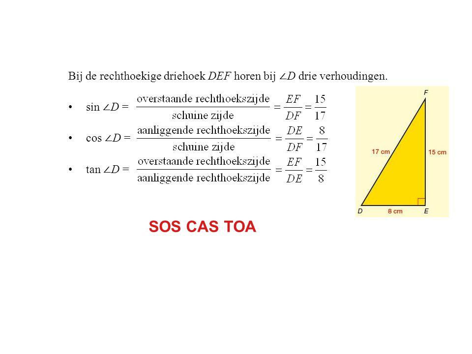 Bij de rechthoekige driehoek DEF horen bij ∠ D drie verhoudingen.