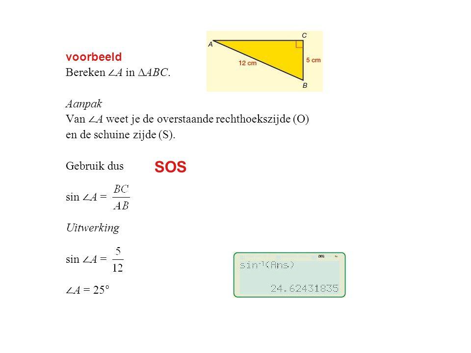 voorbeeld Bereken ∠ A in ∆ABC.