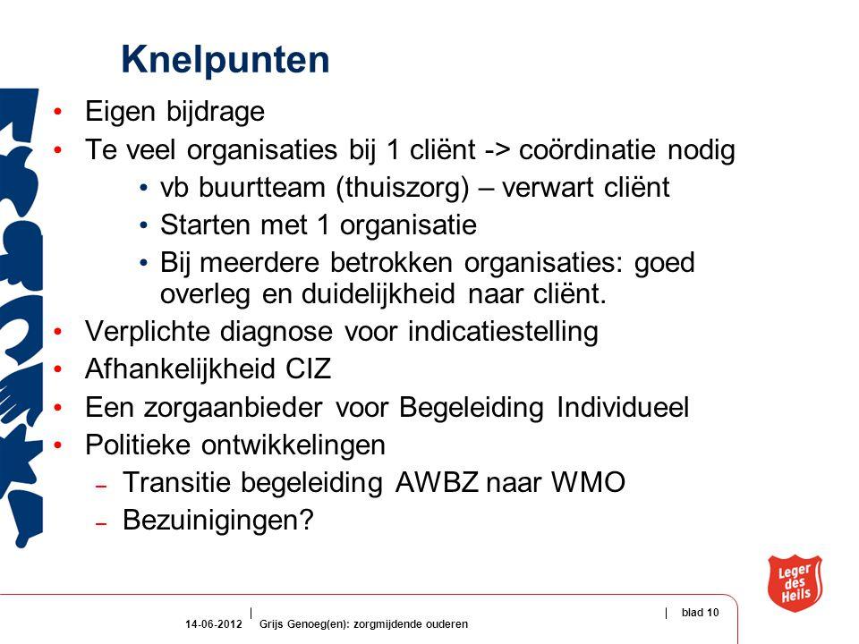14-06-2012Grijs Genoeg(en): zorgmijdende ouderen blad 10 Knelpunten Eigen bijdrage Te veel organisaties bij 1 cliënt -> coördinatie nodig vb buurtteam