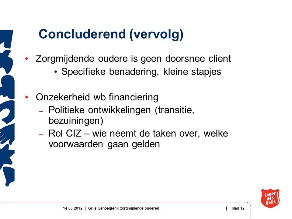14-06-2012Grijs Genoeg(en): zorgmijdende ouderenblad 12 Concluderend (vervolg) Zorgmijdende oudere is geen doorsnee client Specifieke benadering, klei