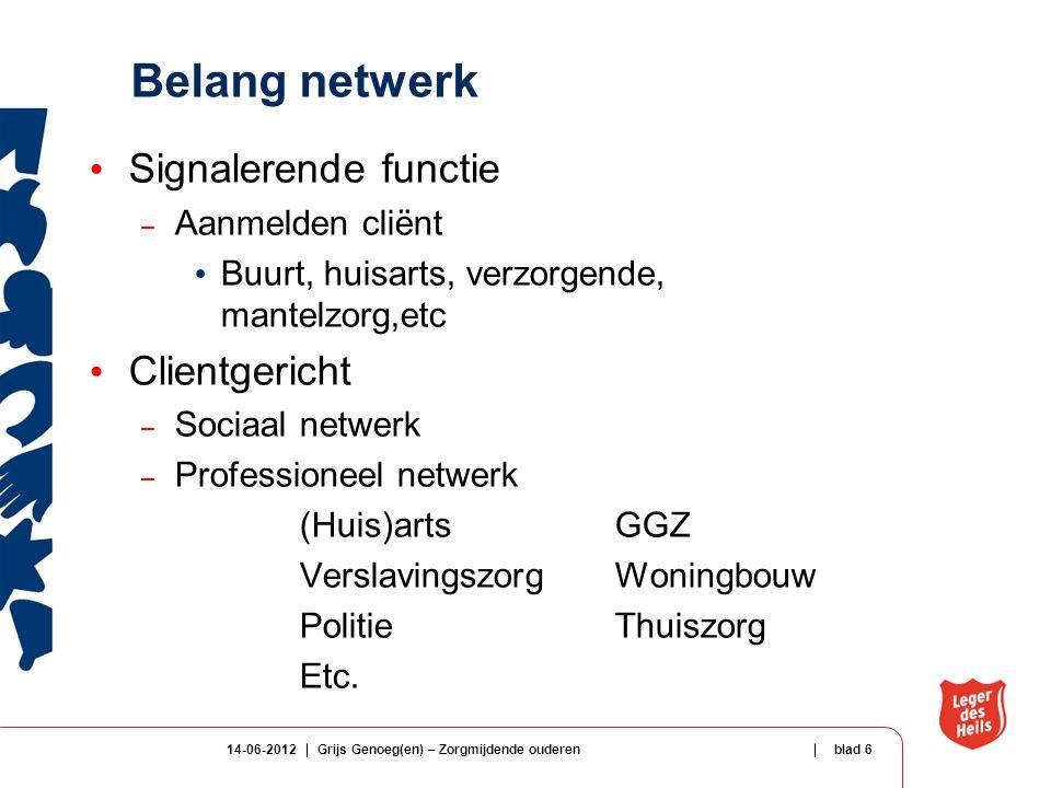 Belang netwerk Signalerende functie – Aanmelden cliënt Buurt, huisarts, verzorgende, mantelzorg,etc Clientgericht – Sociaal netwerk – Professioneel ne