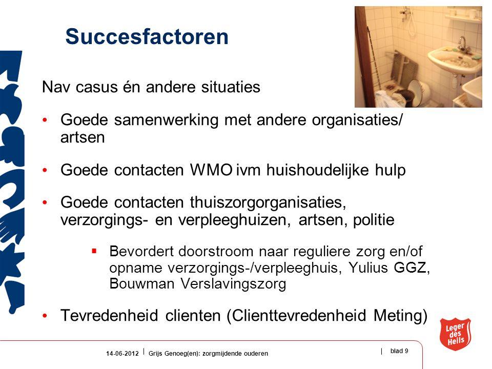 14-06-2012Grijs Genoeg(en): zorgmijdende ouderen blad 9 Succesfactoren Nav casus én andere situaties Goede samenwerking met andere organisaties/ artse