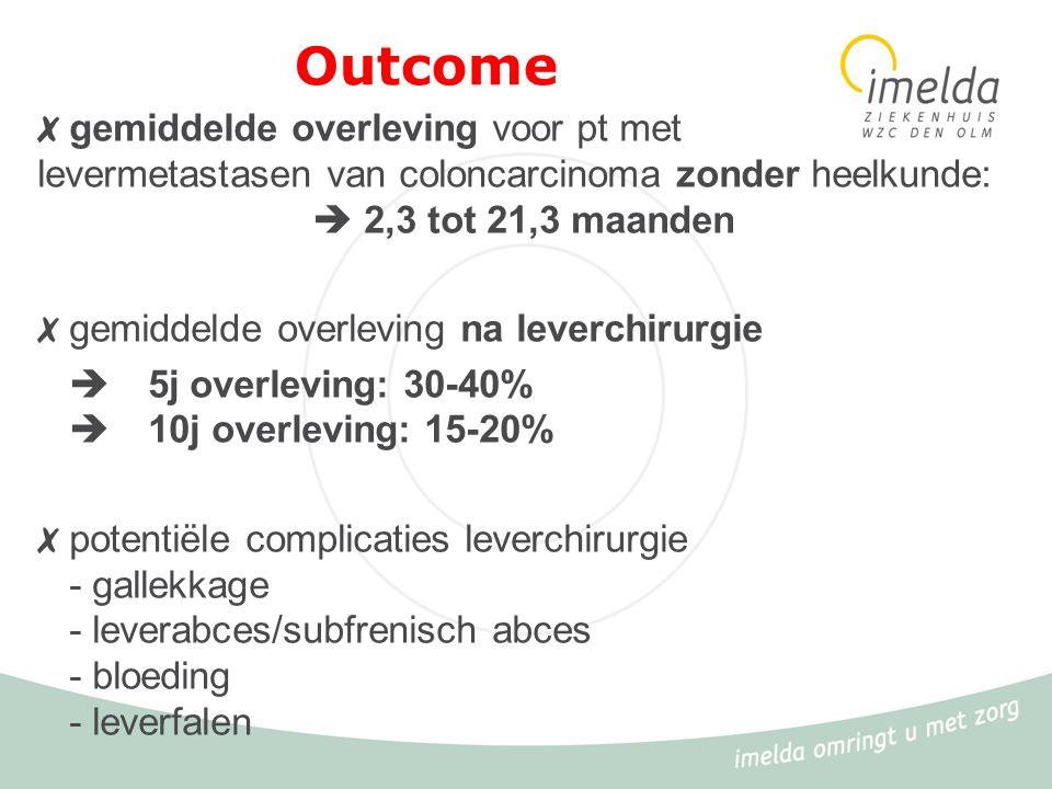 Outcome ✗ gemiddelde overleving voor pt met levermetastasen van coloncarcinoma zonder heelkunde:  2,3 tot 21,3 maanden ✗ gemiddelde overleving na lev