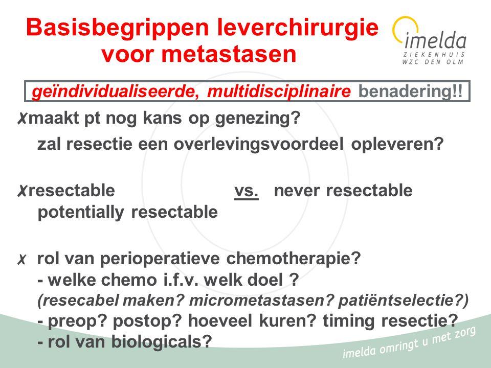 Basisbegrippen leverchirurgie voor metastasen ✗ maakt pt nog kans op genezing? zal resectie een overlevingsvoordeel opleveren? ✗ resectable vs. never