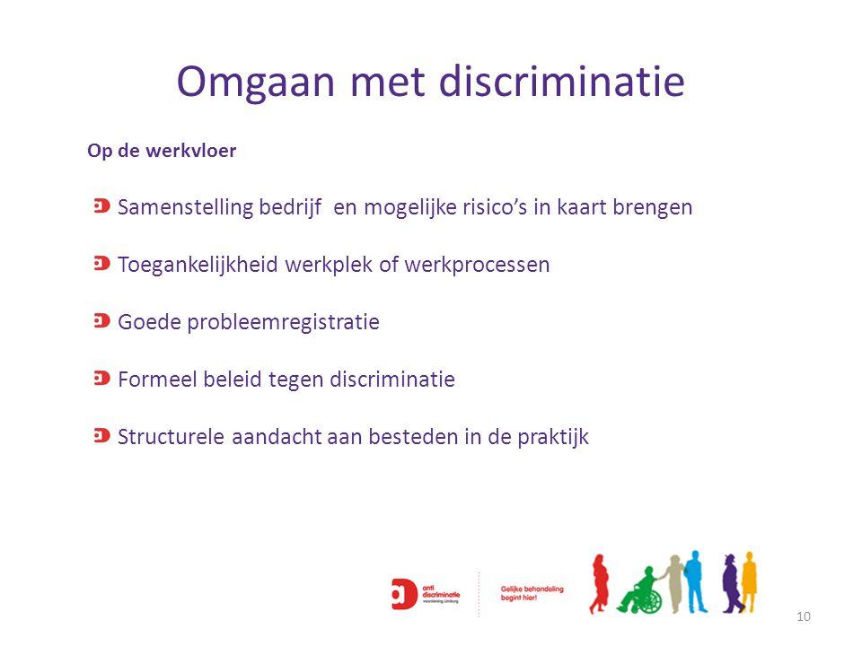 Omgaan met discriminatie 10 Op de werkvloer Samenstelling bedrijf en mogelijke risico's in kaart brengen Toegankelijkheid werkplek of werkprocessen Go