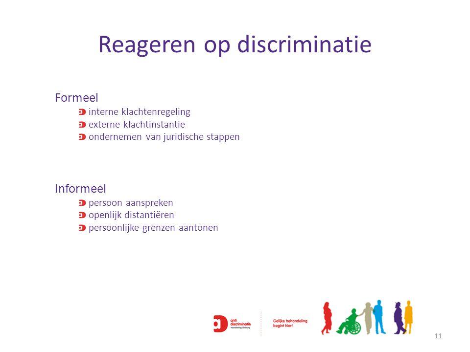 Reageren op discriminatie 11 Formeel interne klachtenregeling externe klachtinstantie ondernemen van juridische stappen Informeel persoon aanspreken o