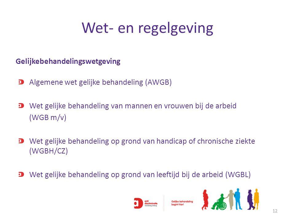Wet- en regelgeving 12 Algemene wet gelijke behandeling (AWGB) Wet gelijke behandeling van mannen en vrouwen bij de arbeid (WGB m/v) Wet gelijke behan