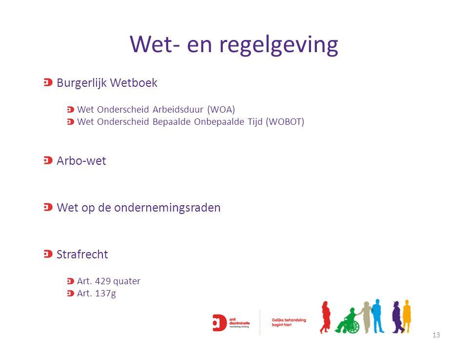 Wet- en regelgeving 13 Burgerlijk Wetboek Wet Onderscheid Arbeidsduur (WOA) Wet Onderscheid Bepaalde Onbepaalde Tijd (WOBOT) Arbo-wet Wet op de ondern