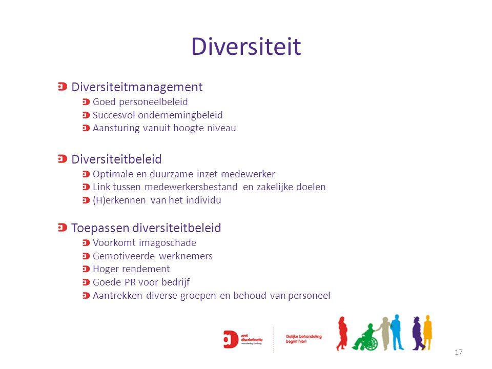 Diversiteit 17 Diversiteitmanagement Goed personeelbeleid Succesvol ondernemingbeleid Aansturing vanuit hoogte niveau Diversiteitbeleid Optimale en du