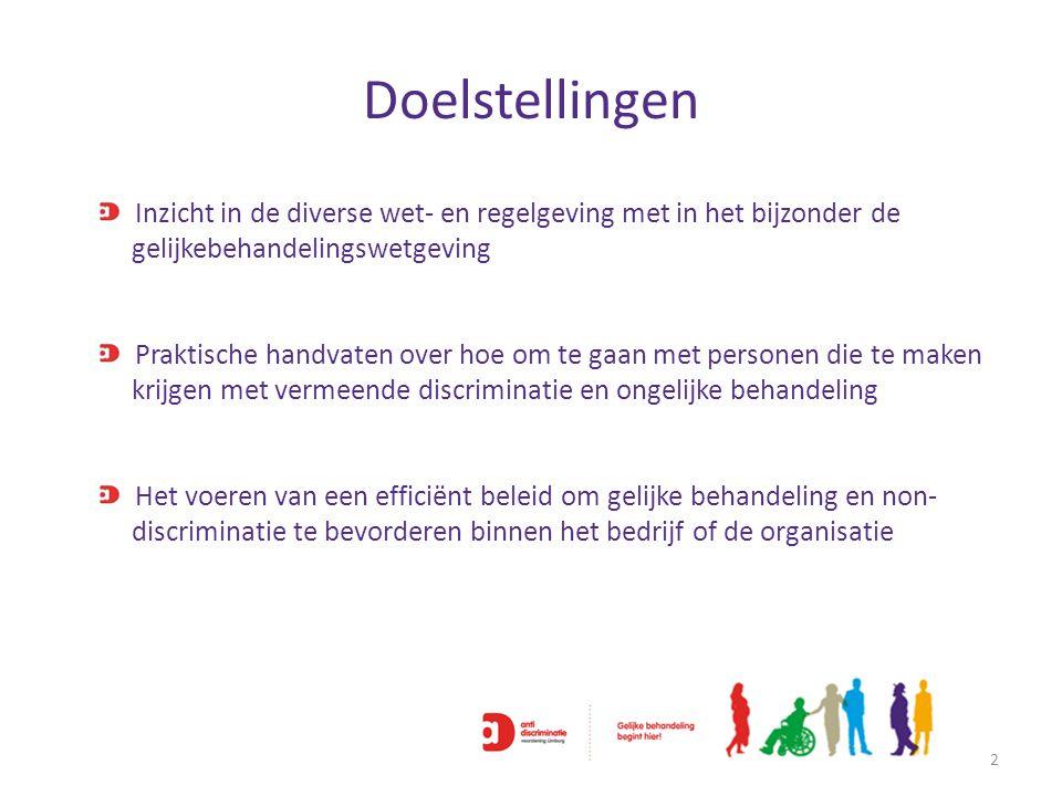 Doelstellingen 2 Inzicht in de diverse wet- en regelgeving met in het bijzonder de gelijkebehandelingswetgeving Praktische handvaten over hoe om te ga