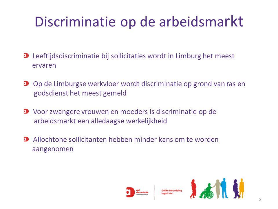 Discriminatie op de arbeidsma rkt 8 Leeftijdsdiscriminatie bij sollicitaties wordt in Limburg het meest ervaren Op de Limburgse werkvloer wordt discri