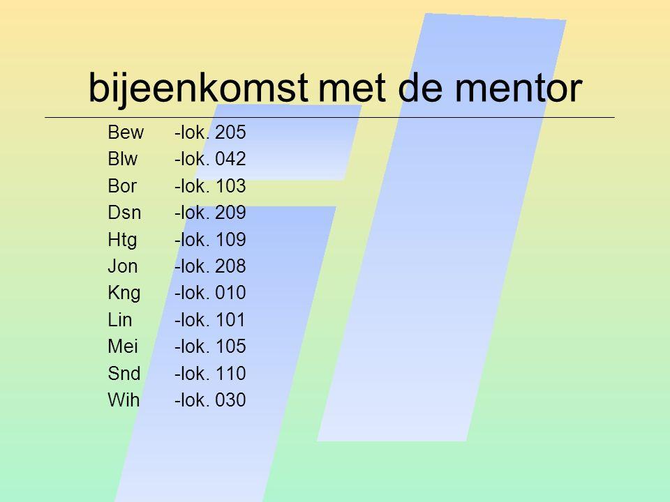 bijeenkomst met de mentor Bew-lok. 205 Blw-lok. 042 Bor-lok.
