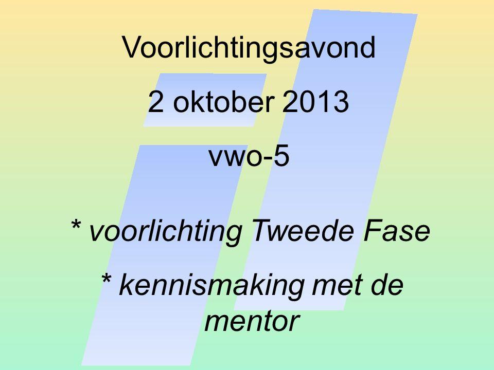 Voorlichtingsavond 2 oktober 2013 vwo-5 * voorlichting Tweede Fase * kennismaking met de mentor