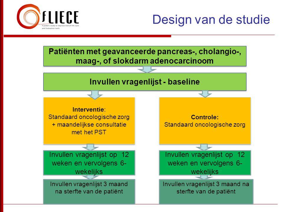 Design van de studie Patiënten met geavanceerde pancreas-, cholangio-, maag-, of slokdarm adenocarcinoom Invullen vragenlijst - baseline Interventie: