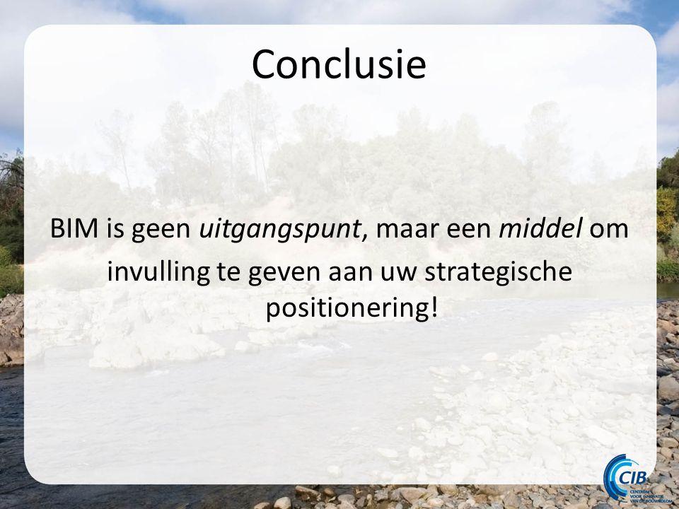 Conclusie BIM is geen uitgangspunt, maar een middel om invulling te geven aan uw strategische positionering!
