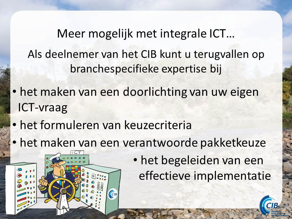 Meer mogelijk met integrale ICT… Als deelnemer van het CIB kunt u terugvallen op branchespecifieke expertise bij het maken van een doorlichting van uw eigen ICT-vraag het formuleren van keuzecriteria het maken van een verantwoorde pakketkeuze het begeleiden van een effectieve implementatie
