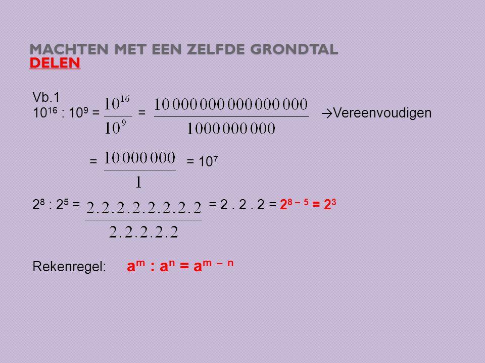 MACHTEN MET EEN ZELFDE GRONDTAL DELEN Vb.1 10 16 : 10 9 = = → Vereenvoudigen = = 10 7 2 8 : 2 5 = = 2. 2. 2 = 2 8 – 5 = 2 3 Rekenregel: a m : a n = a