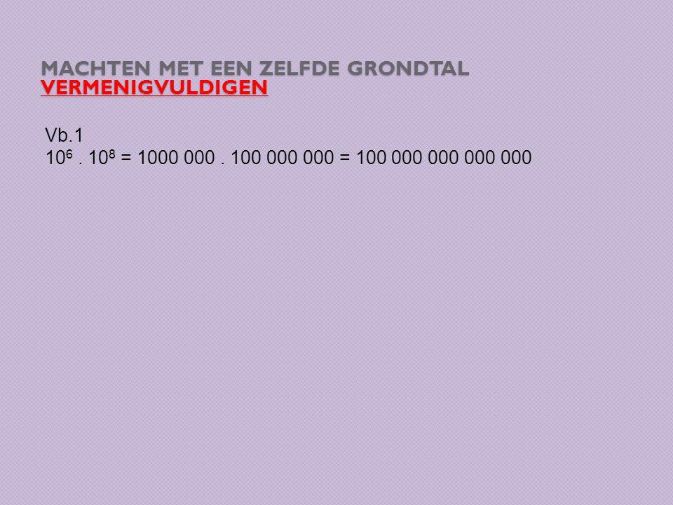MACHTEN MET EEN ZELFDE GRONDTAL VERMENIGVULDIGEN Vb.1 10 6. 10 8 = 1000 000. 100 000 000 = 100 000 000 000 000