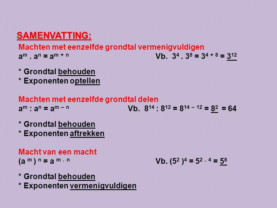 SAMENVATTING: Machten met eenzelfde grondtal vermenigvuldigen a m. a n = a m + n Vb. 3 4. 3 8 = 3 4 + 8 = 3 12 * Grondtal behouden * Exponenten optell