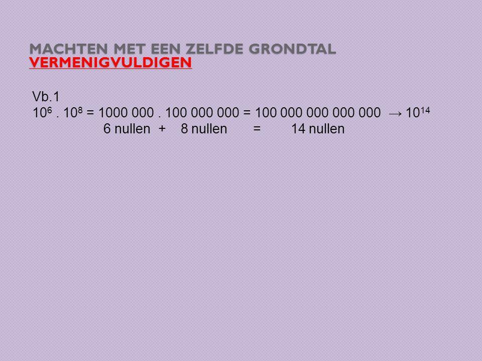 MACHTEN MET EEN ZELFDE GRONDTAL DELEN Vb.1 10 16 : 10 9 = = → Vereenvoudigen = = 10 7 → 10 16 : 10 9 = 10 16 – 9 = 10 7