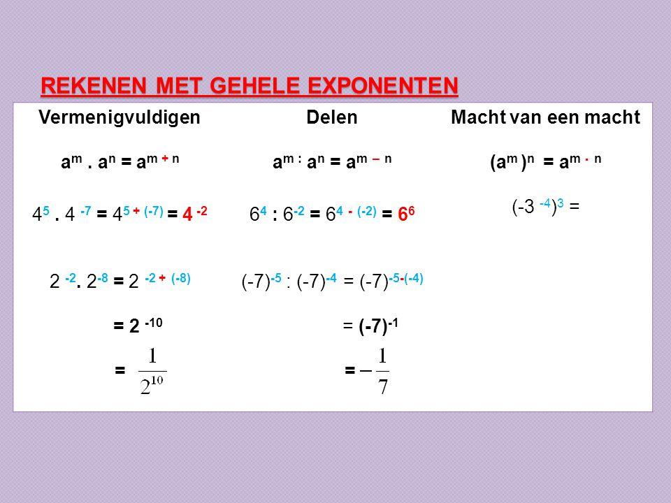 REKENEN MET GEHELE EXPONENTEN Vermenigvuldigen a m. a n = a m + n 4 5. 4 -7 = 4 5 + (-7) = 4 -2 2 -2. 2 -8 = 2 -2 + (-8) = 2 -10 = Delen a m : a n = a