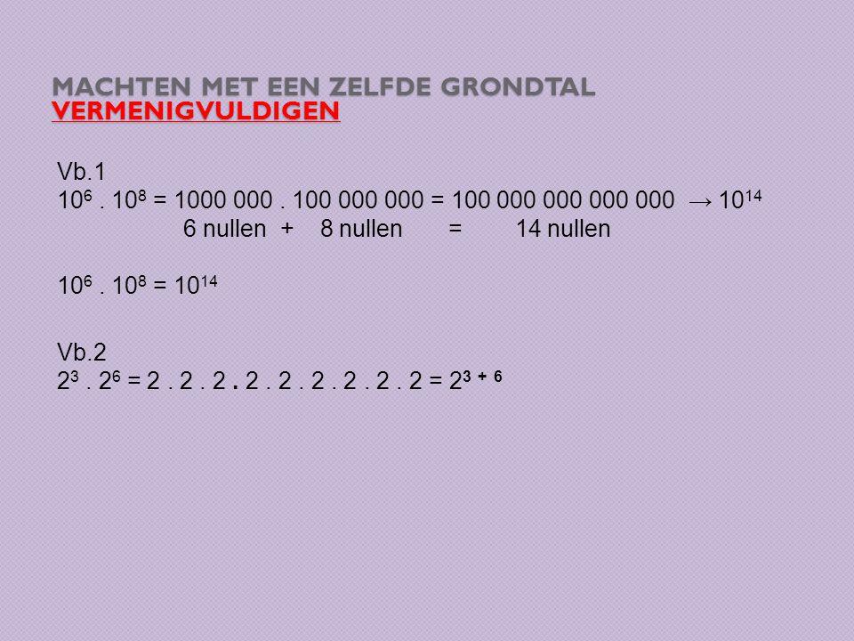 MACHTEN MET EEN ZELFDE GRONDTAL DELEN Vb.1 10 16 : 10 9 = = → Vereenvoudigen = = 10 7 2 8 : 2 5 =
