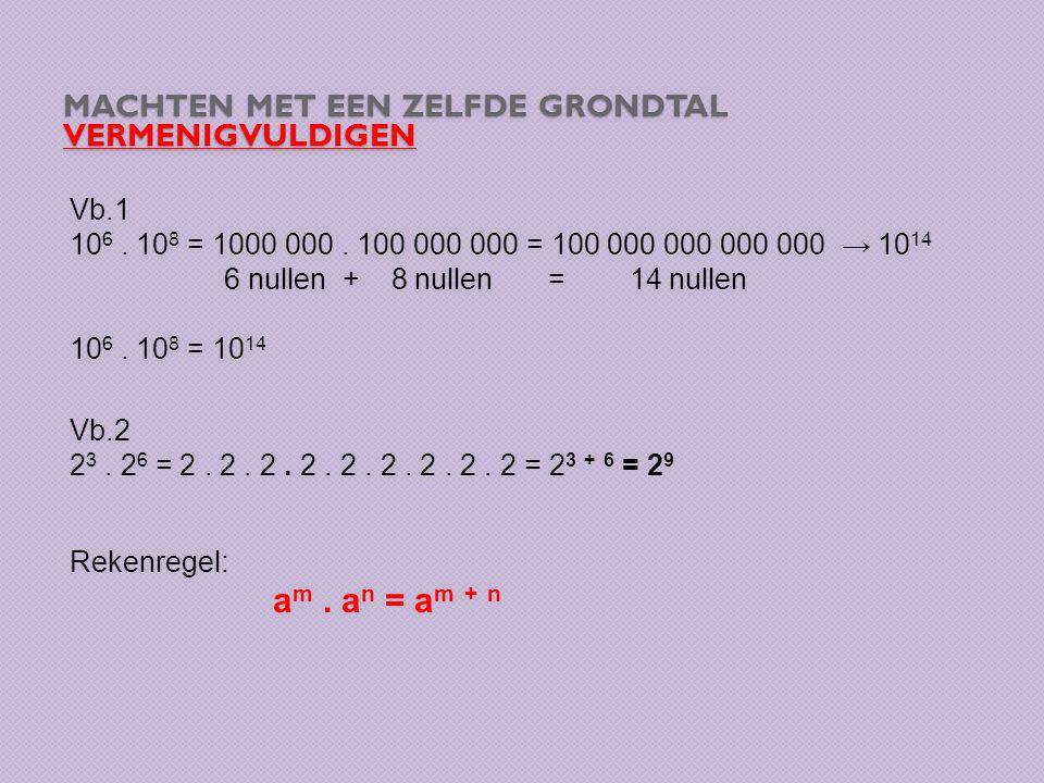 MACHTEN MET EEN ZELFDE GRONDTAL VERMENIGVULDIGEN Vb.1 10 6.