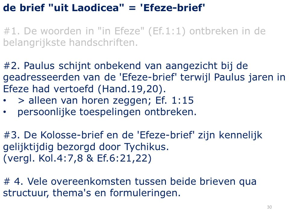 30 de brief uit Laodicea = Efeze-brief #1.
