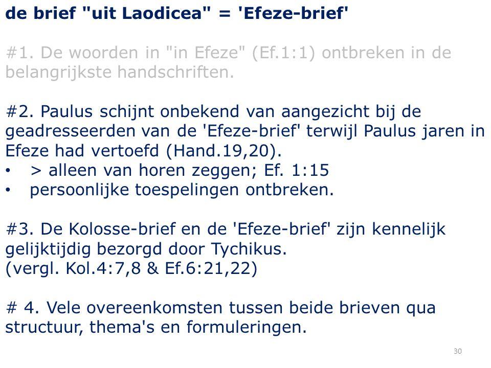 30 de brief uit Laodicea = Efeze-brief #1.