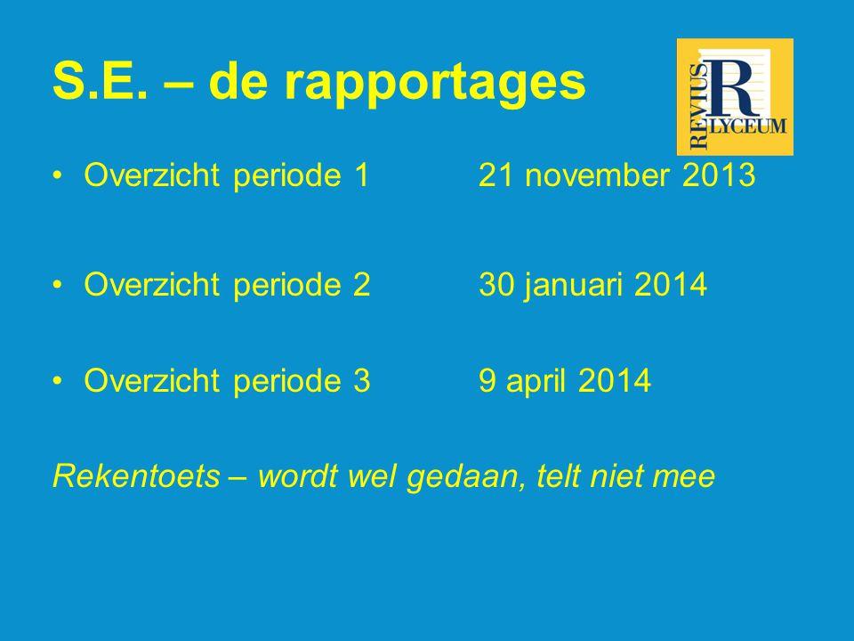 S.E. – de rapportages Overzicht periode 1 21 november 2013 Overzicht periode 230 januari 2014 Overzicht periode 3 9 april 2014 Rekentoets – wordt wel