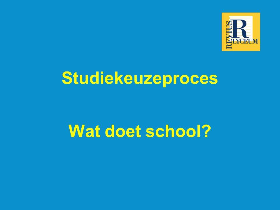Studiekeuzeproces Wat doet school?