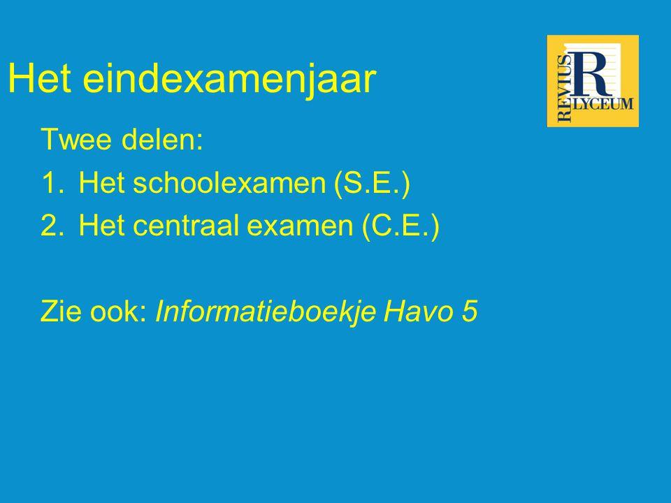 Het eindexamenjaar Twee delen: 1.Het schoolexamen (S.E.) 2.Het centraal examen (C.E.) Zie ook: Informatieboekje Havo 5