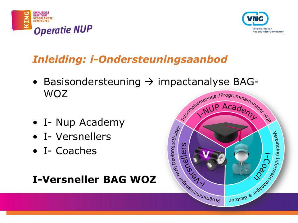 Inleiding: i-Ondersteuningsaanbod Basisondersteuning  impactanalyse BAG- WOZ I- Nup Academy I- Versnellers I- Coaches I-Versneller BAG WOZ