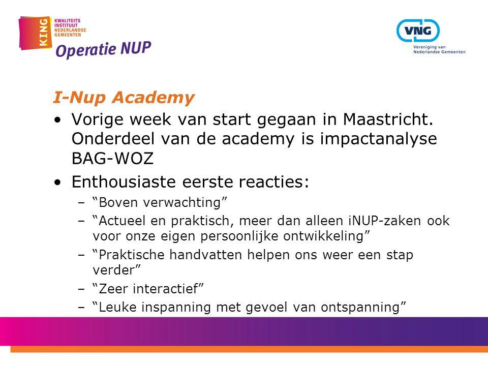 """I-Nup Academy Vorige week van start gegaan in Maastricht. Onderdeel van de academy is impactanalyse BAG-WOZ Enthousiaste eerste reacties: –""""Boven verw"""