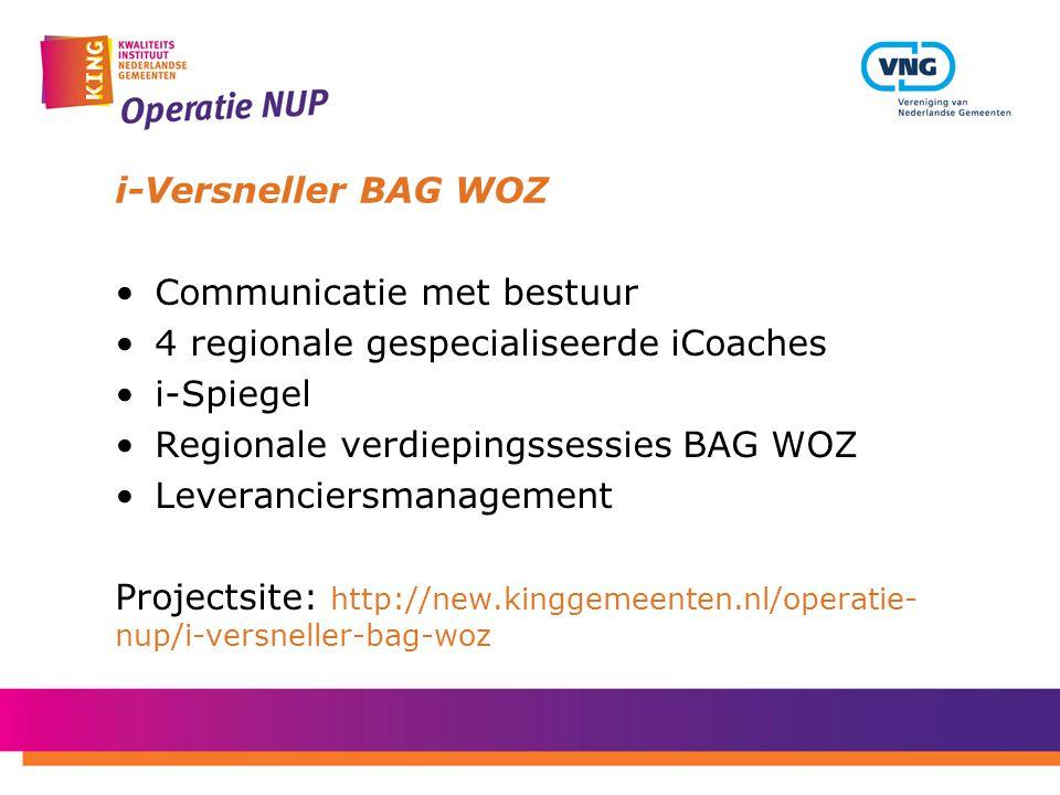 i-Versneller BAG WOZ Communicatie met bestuur 4 regionale gespecialiseerde iCoaches i-Spiegel Regionale verdiepingssessies BAG WOZ Leveranciersmanagem
