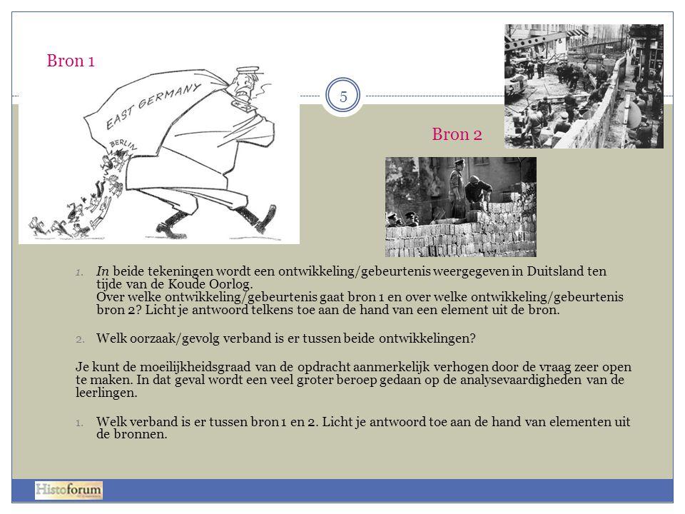1. In beide tekeningen wordt een ontwikkeling/gebeurtenis weergegeven in Duitsland ten tijde van de Koude Oorlog. Over welke ontwikkeling/gebeurtenis