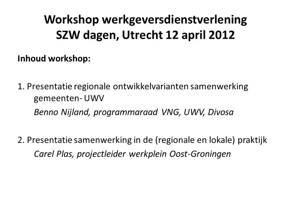 Samenwerking gemeenten en UWV bij werkgeversdienstverlening Ontwikkelvarianten Programmaraad / werkgroep werkgeversdienstverlening