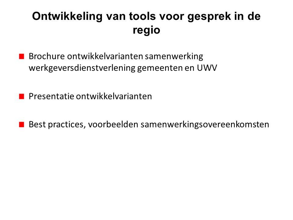Ontwikkeling van tools voor gesprek in de regio Brochure ontwikkelvarianten samenwerking werkgeversdienstverlening gemeenten en UWV Presentatie ontwik