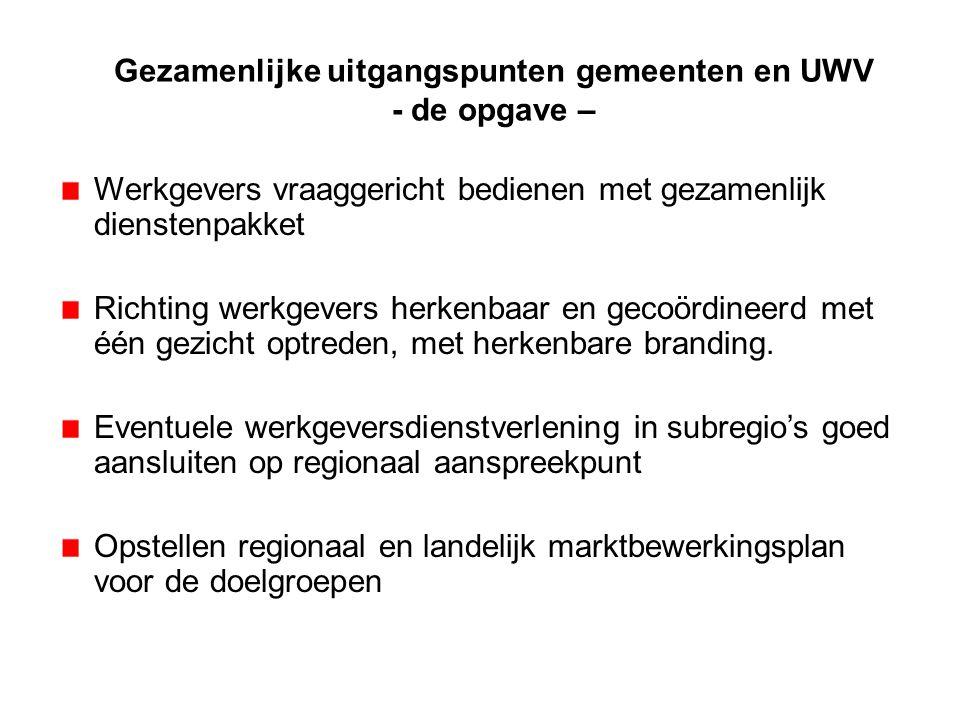 Gezamenlijke uitgangspunten gemeenten en UWV - de opgave – Werkgevers vraaggericht bedienen met gezamenlijk dienstenpakket Richting werkgevers herkenb