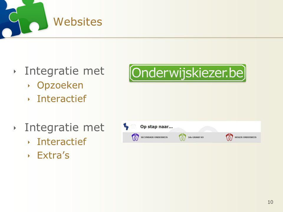 Websites  Integratie met  Opzoeken  Interactief  Integratie met  Interactief  Extra's 10