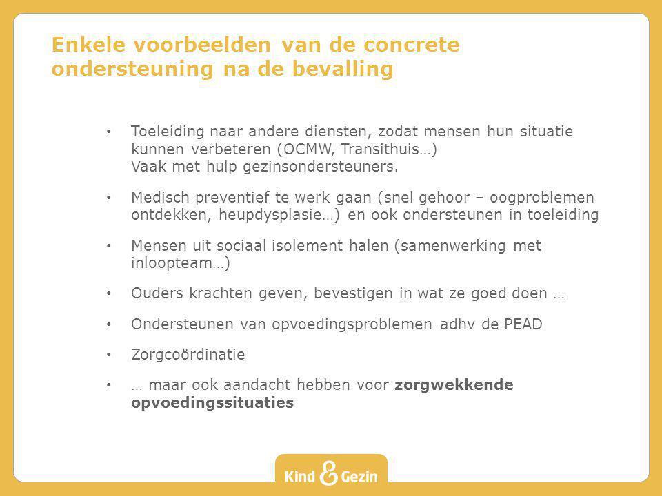 Toeleiding naar andere diensten, zodat mensen hun situatie kunnen verbeteren (OCMW, Transithuis…) Vaak met hulp gezinsondersteuners. Medisch preventie