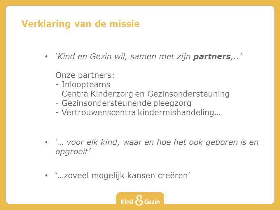 'Kind en Gezin wil, samen met zijn partners,..' Onze partners: - Inloopteams - Centra Kinderzorg en Gezinsondersteuning - Gezinsondersteunende pleegzo