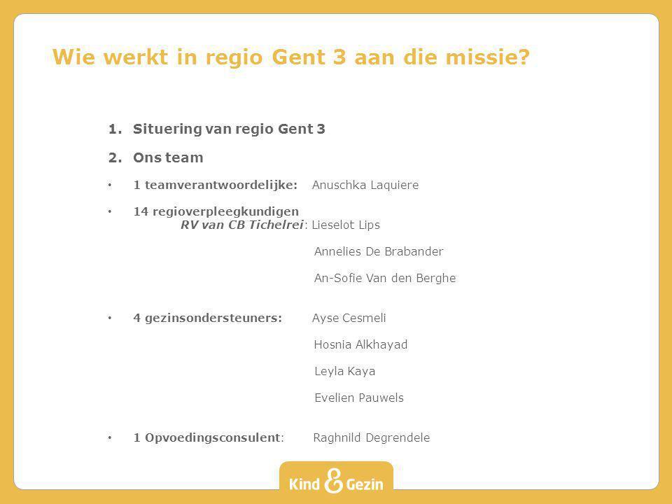 Algemeen heeft Kind en Gezin 3 beleidsdomeinen: - adoptie - kinderopvang - preventieve gezinsondersteuning Het team van regio Gent 3 valt onder de preventieve gezinsondersteuning.