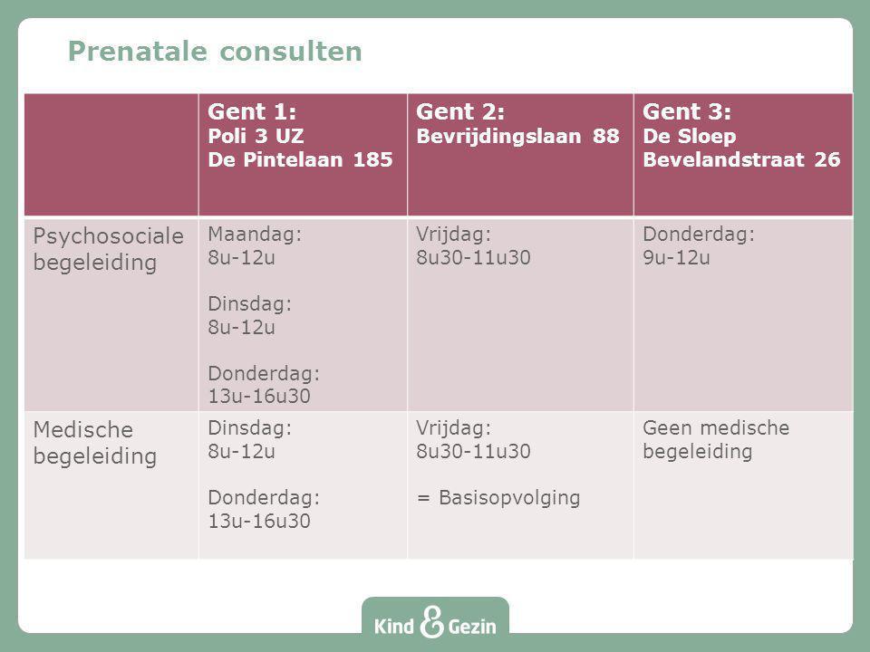 Prenatale consulten Gent 1: Poli 3 UZ De Pintelaan 185 Gent 2: Bevrijdingslaan 88 Gent 3: De Sloep Bevelandstraat 26 Psychosociale begeleiding Maandag
