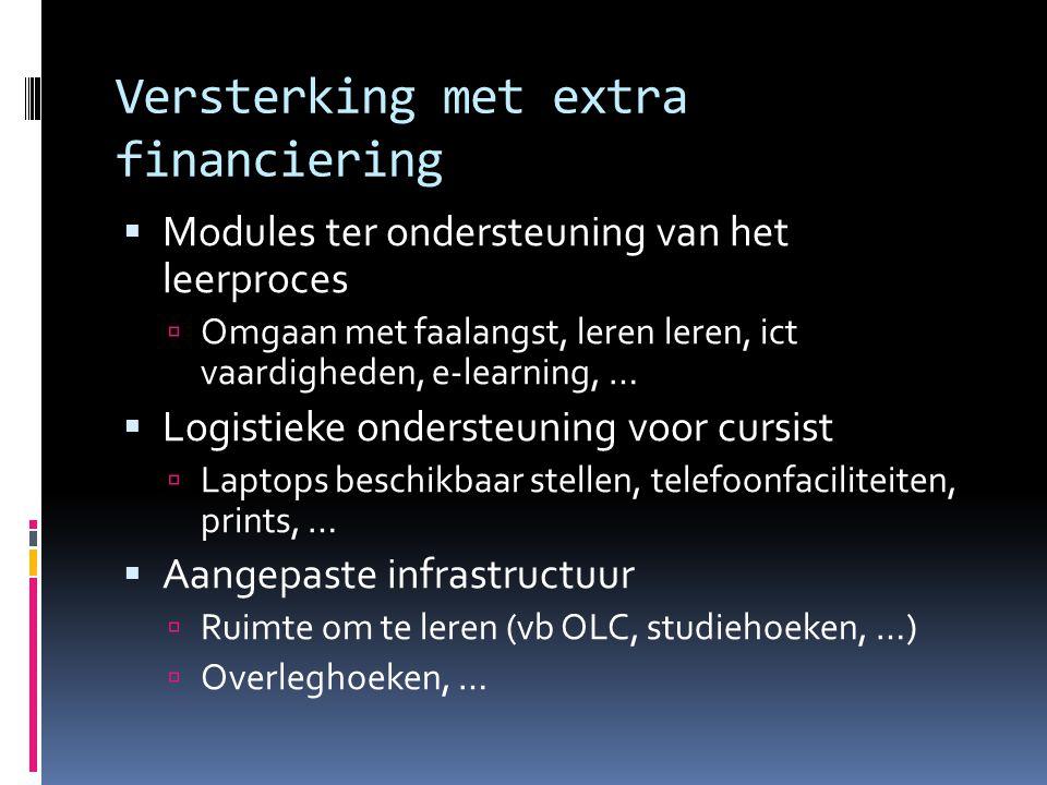 Versterking met extra financiering  Modules ter ondersteuning van het leerproces  Omgaan met faalangst, leren leren, ict vaardigheden, e-learning, …